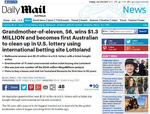 Australian Lottoland winner