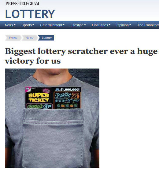 CA Lottery Issues 'Biggest' Scratcher Ticket