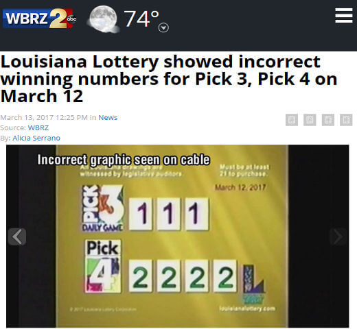 Louisiana Lottery wrong results