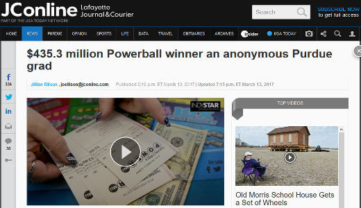 Powerball winner Purdue Grad