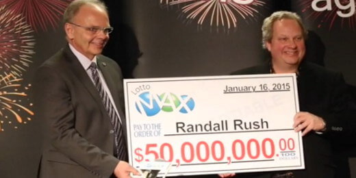 Randall Rush collecting his $50M jackpot check