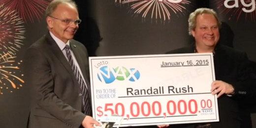 Randall Rush collecting his $50M jackpot check