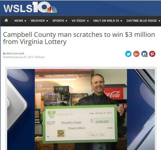 Man Wins $3 Million Lotto Prize