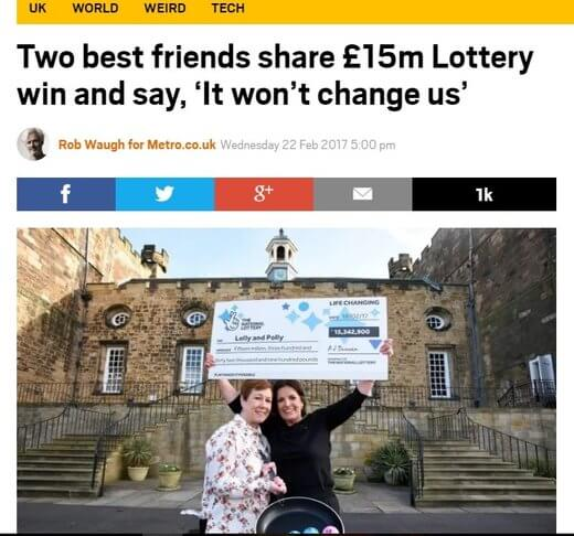 Two friends share £15M lotto win.