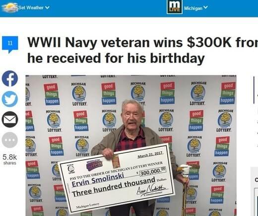 War Vet Posts $300K Win