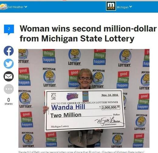 Wanda Hill Wins 2nd Major Lotto Prize