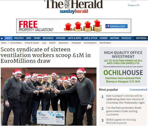 Sixteen Workers Win A Million Pounds